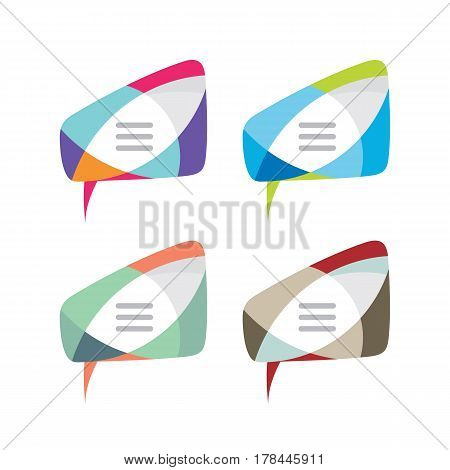 Message - vector logo template concept illustration. Speech bubble creative sign in four color variation. Internet chat icon. Abstract vitrage mosaic. Dialogue frame. Geometric design element.