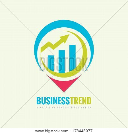 Business trend vector logo template concept illustration. Infographic chart and arrow creative sign. Location map place symbol. Geometric design element.