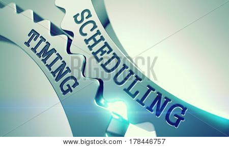Scheduling Timing Shiny Metal Cogwheels - Business Concept. with Glow Effect and Lens Flare . Scheduling Timing on the Metal Gears, Enterprises Illustration with Glow Effect . 3D Illustration .
