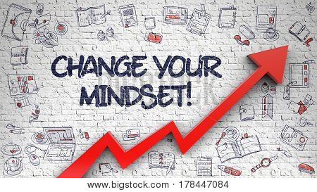Change Your Mindset - Modern Style Illustration with Hand Drawn Elements. Change Your Mindset Drawn on White Wall. Illustration with Hand Drawn Icons. 3d.