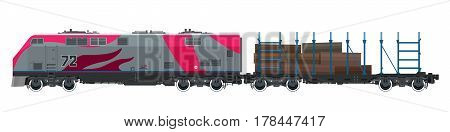 Pink Locomotive with Railway Platform for Timber Transportation, Train on White Background, Railway and Cargo Transport, Vector Illustration