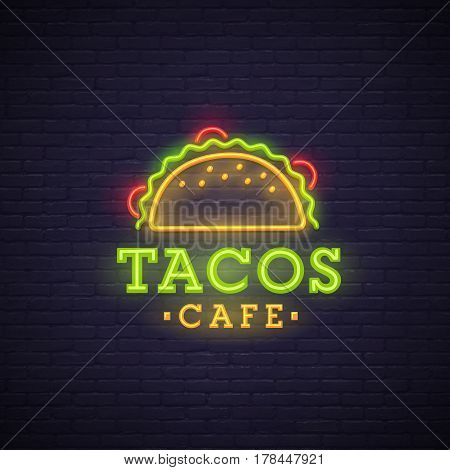 Tacos neon sign, bright signboard, light banner. Tacos logo, emblem