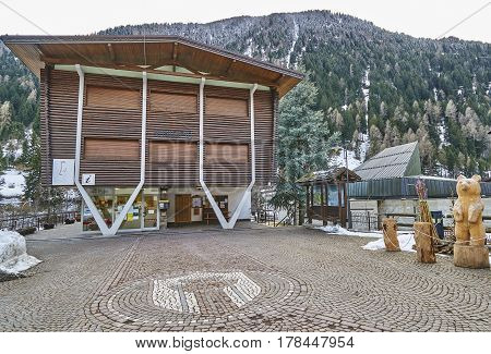Cogolo, Italy - March 6, 2017: Tourist Information Office In The