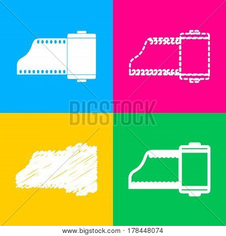 Foto camera casset sign. Four styles of icon on four color squares.
