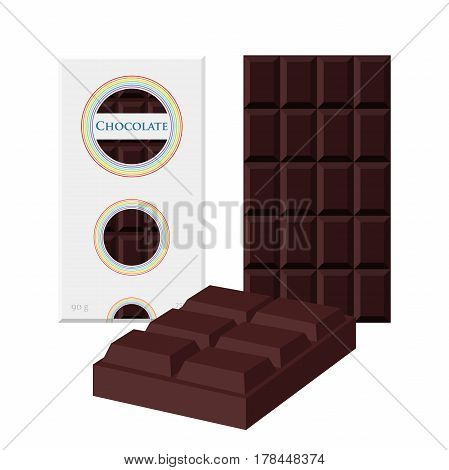 Black chocolate bar. Cacao label package. Sweet milky product. Flat style
