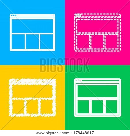 Web window sign. Four styles of icon on four color squares.