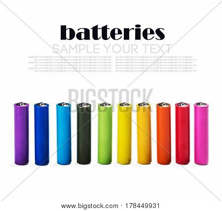 Different color alkaline batteries isolated on white background. Remove text
