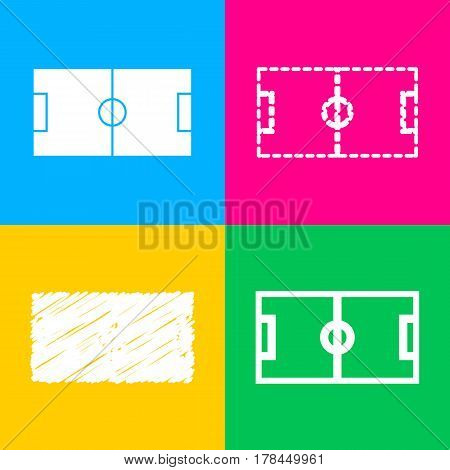 Soccer field. Four styles of icon on four color squares.