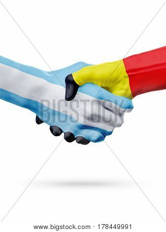 Flags Argentina Belgium countries handshake cooperation partnership friendship or national sports team competition concept isolated on white