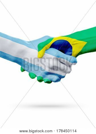 Flags Argentina Brazil countries handshake cooperation partnership friendship or national sports team competition concept isolated on white