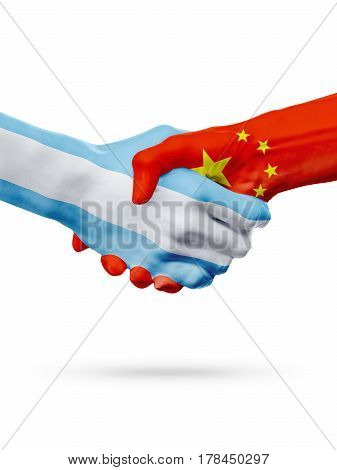 Flags Argentina China countries handshake cooperation partnership friendship or national sports team competition concept isolated on white