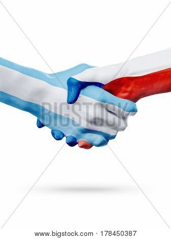 Flags Argentina Czech Republic countries handshake cooperation partnership friendship or national sports team competition concept isolated on white