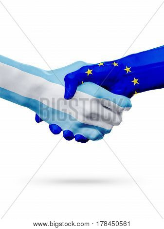 Flags Argentina European Union countries handshake cooperation partnership friendship or competition concept isolated on white