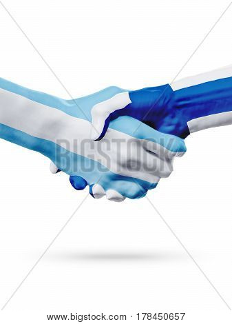 Flags Argentina Finland countries handshake cooperation partnership friendship or national sports team competition concept isolated on white