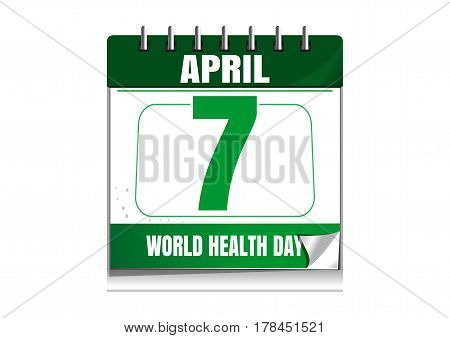 World Health Day. Wall calendar. 7 April. Health Day date in the calendar. Vector illustration isolated on white background