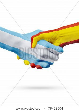 Flags Argentina Spain countries handshake cooperation partnership friendship or national sports team competition concept isolated on white