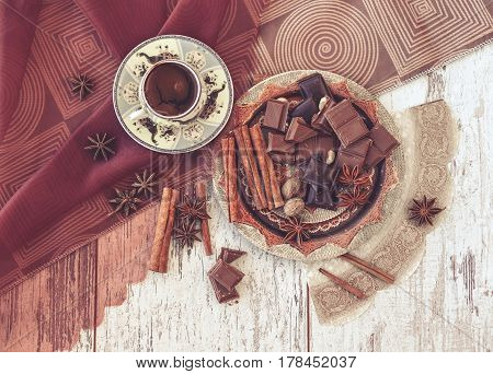 Cup Of Turkish Coffee And Chocolate