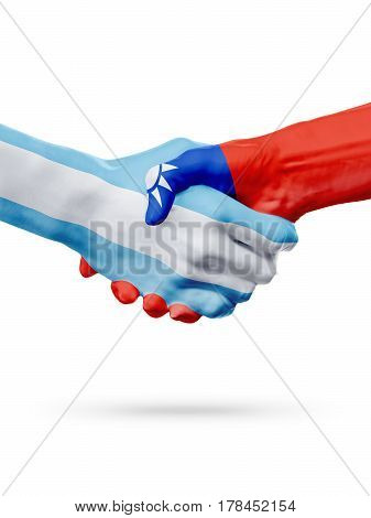 Flags Argentina Taiwan countries handshake cooperation partnership friendship or national sports team competition concept isolated on white