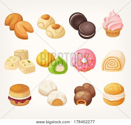 Sweets and cookies for tea from all over the world. Dessrt food in vector.