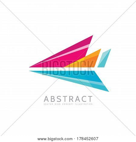 Abstract arrow - vector logo template concept illustration in flat style. Stylized airplane creative sign. Colorful design element.