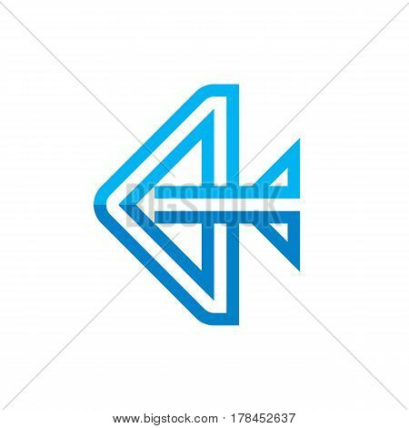 Stylized abstract bow and arrow - vector logo template concept illustration. Graphic geometric design element.