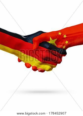 Flags Germany China countries handshake cooperation partnership friendship or sports team competition concept isolated on white