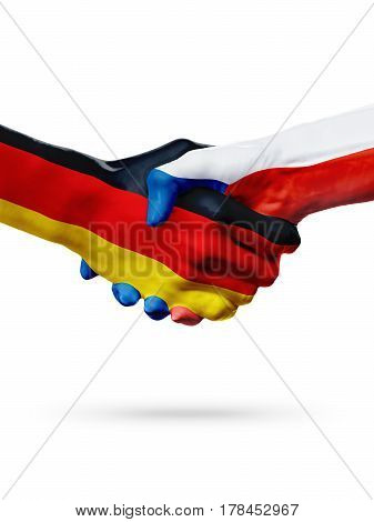 Flags Germany Czech Republic countries handshake cooperation partnership friendship or sports team competition concept isolated on white