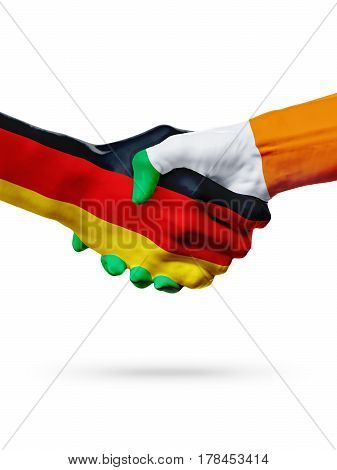 Flags Germany Ireland countries handshake cooperation partnership friendship or sports team competition concept isolated on white