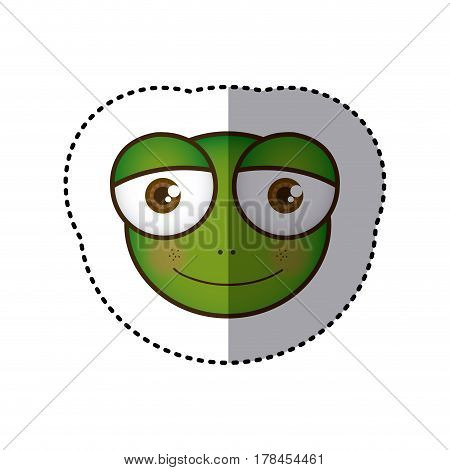 sticker colorful picture face of frog with big eyes vector illustration