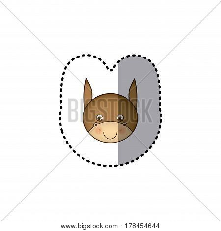small sticker colorful picture face cute donkey animal vector illustration