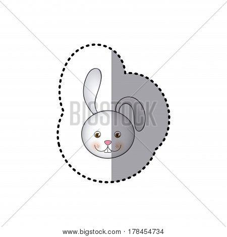 small sticker colorful picture face cute rabbit animal vector illustration