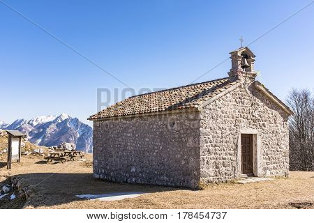 Chapel on Monte San Simeone with Monte Chiampon in the background