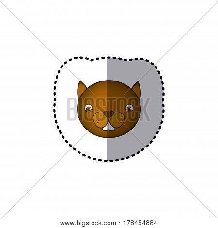 small sticker colorful picture face cute squirrel animal vector illustration