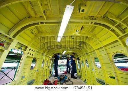 Ulan-Ude, Russia - 3 March, 2017: Making of modern russian helicopters Mi-8 on the aircraft plant in Ulan-Ude, Russia