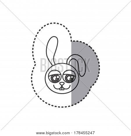 small sticker of grayscale contour with face of rabbit with big eyes vector illustration