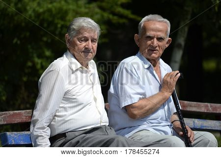 Two old gentlemen siting on the park bench on a nice, sunny day