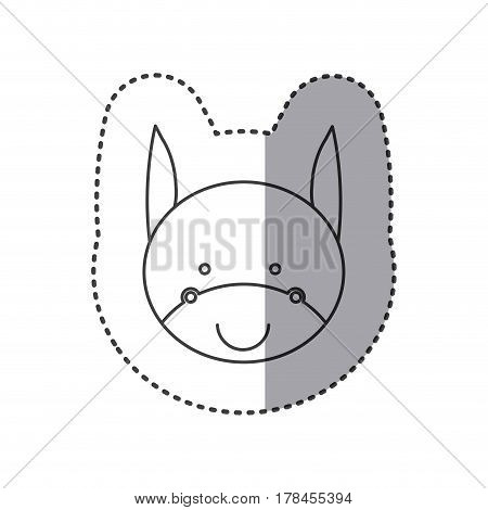 sticker of grayscale contour with face of donkey vector illustration