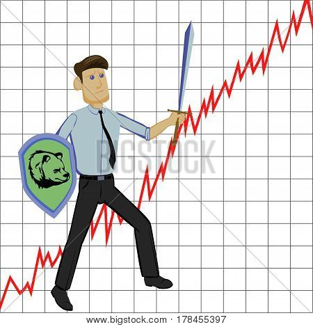 businessman with sword and shild on graph background symbolizes  struggling the market