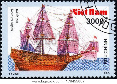 UKRAINE - CIRCA 2017: A postage stamp printed in Vietnam shows old sailing ship Galion series Ancient boats 3000d circa 1990