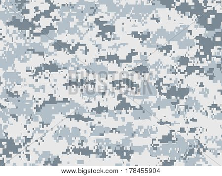Vector texture of white and gray pixels camouflage used for the snow environment