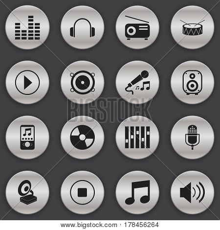 Set Of 16 Editable Media Icons. Includes Symbols Such As Music, Bass Speakers, Music Phone And More. Can Be Used For Web, Mobile, UI And Infographic Design.