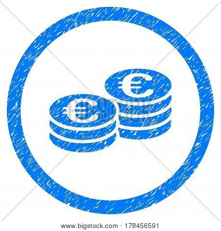 Rounded Euro Coin Stacks rubber seal stamp watermark. Icon symbol inside circle with grunge design and scratched texture. Unclean vector blue emblem.