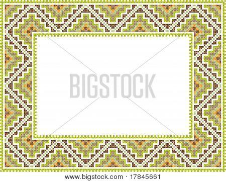 Vector Folk Rectangular Frame Cross-stitch