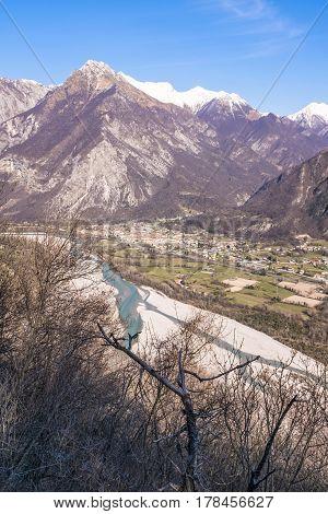 View from Monte San Simeone to Venzone and river Tagliamento in Friuli-Venezia Giulia poster