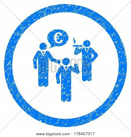 Rounded Euro Discuss Persons rubber seal stamp watermark. Icon symbol inside circle with grunge design and dust texture. Unclean vector blue sticker.
