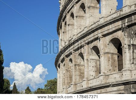 Coliseum monumental outer ring arches in Rome