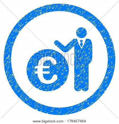 Rounded Euro Economist rubber seal stamp watermark. Icon symbol inside circle with grunge design and unclean texture. Unclean vector blue emblem.