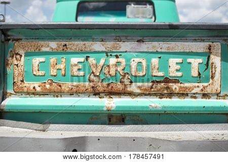 Classic Chevolet truck at a car show in Prattville Alabama on May 30 2015