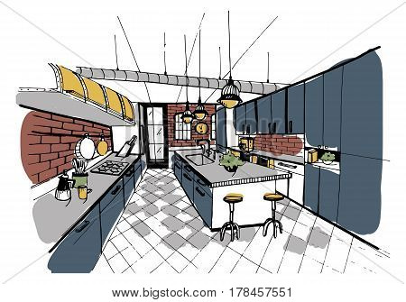 Modern kitchen interior in loft style, Hand drawn colorful illustration.