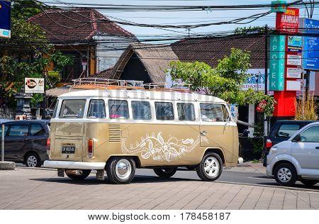 Bus Running On Street In Bali, Indonesia